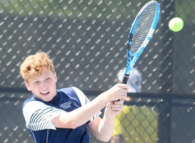 Louisville's Griffin Millspaugh competes in the Division I singles sectional final, Saturday, May 15, 2021, at Jackson Park.