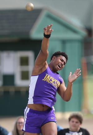 Jackson's Jayden Baker competes in the shot put during the Federal League meet at GlenOak. Baker entered the season without any varsity experience due to last season being canceled by COVID-19.