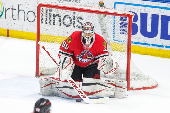 IceHogs' goalie Matt Tomkins makes a save against Chicago Wolves in the second period of their last home game of the season at BMO Harris Bank Center  Friday, May 14, 2021, in Rockford.