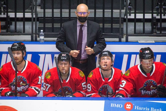 IceHogs' head coach Derrek King watches his team against Chicago Wolves in the second period of their last home game of the season at BMO Harris Bank Center  Friday, May 14, 2021, in Rockford.
