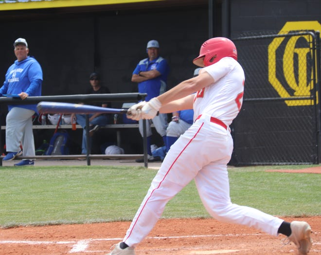 Dale's Cade Capps (20) singles to right-center against Christian Heritage on Friday in the semifinals of the Class 2A State Tournament at Dolese Park in Oklahoma City.