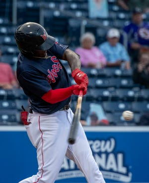 WooSox outfielder Marcus Wilson reached on all five of hls plate appearances Friday night at Lehigh Valley.