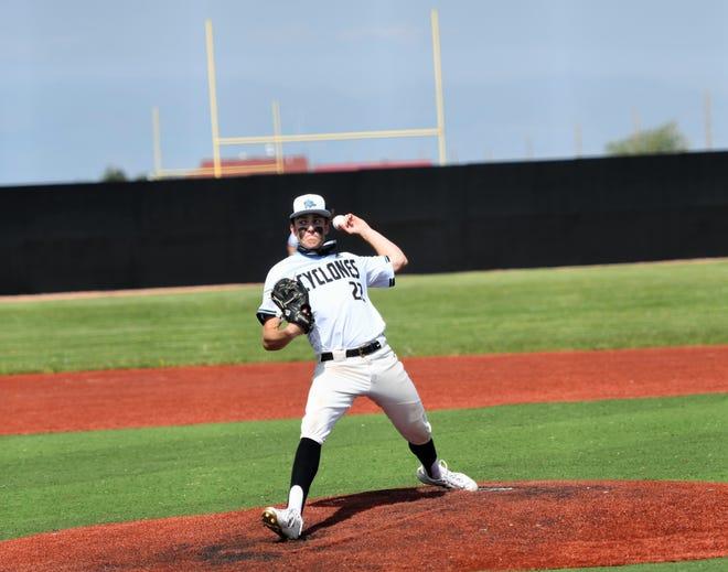 Pueblo West pitcher, Jace Schlegel throws in a game against Pueblo County Saturday.