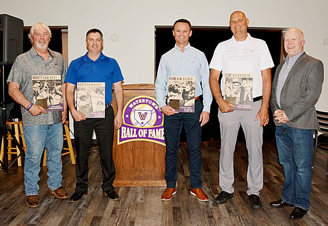 The inaugural induction class of the Watertown Baseball Hall of Fame, from left, includes Marty VanHeel, Rusty Remmers, Ryan Van Gilder and Gene Bierscheid. They were inducted Friday night, along with the 1950 Watertown Park Grant Baseball Team that won the National Amateur Baseball Congress championship, during a banquet at the North Shore Chophouse. Charlie Horning, far right, spoke on behalf of the Park Grant team that included his grandfather and uncle.