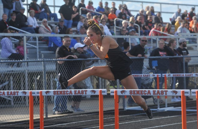 Colonel Crawford's Katie Ruffener races in the 100 hurdles at the Northern 10 championships.