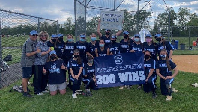 The Shawnee High School softball team delivered a 7-4 upset win over No. 3 Seneca for head coach Paula Escudero's 300th career win.