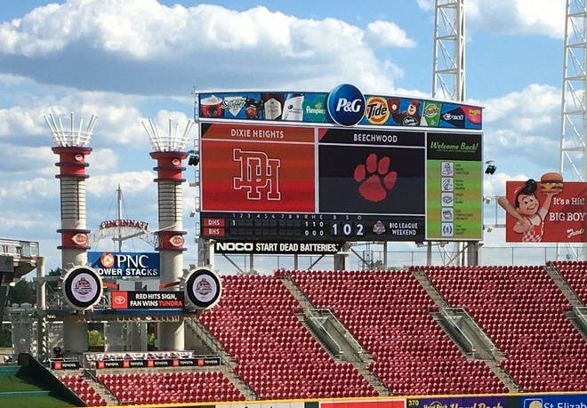 The scoreboard for Beechwood and Dixie Heights as Dixie Heights defeated Beechwood 3-2 in nine innings in a KHSAA baseball game May 14, 2021, at Great American Ball Park as part of the Reds High School Showcase.