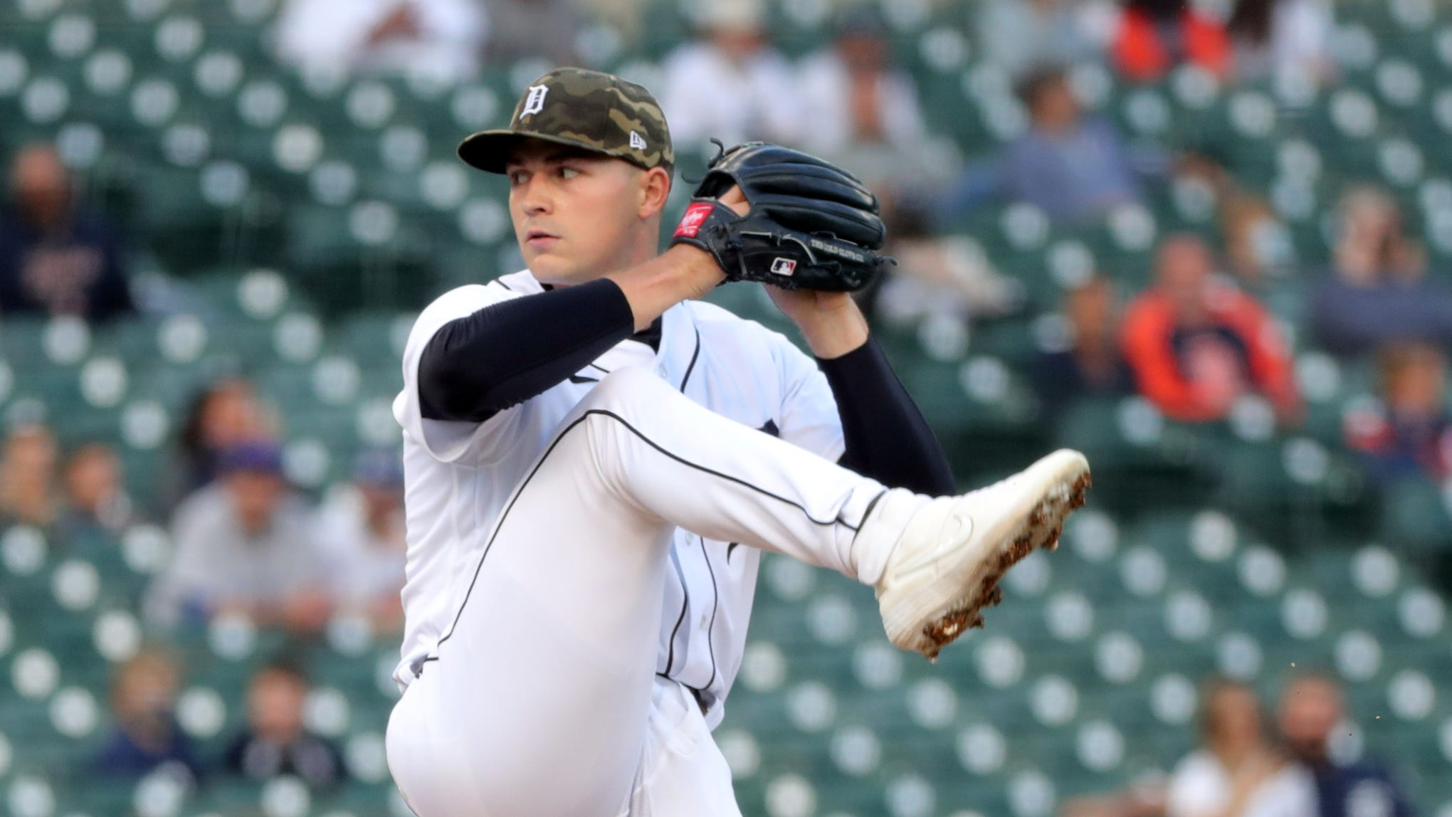 Detroit Tigers starter Tarik Skubal pitches against the Chicago Cubs during the first inning Friday, May 14, 2021 at Comerica Park in Detroit.