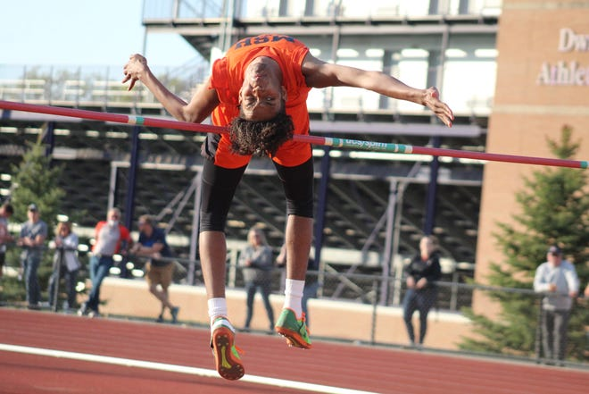 Mansfield Senior's Ameel Upchurch competes in the boys high jump during the Ohio Cardinal Conference Championships last weekend. Upchurch on the district title in the event.