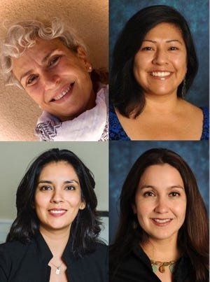 (Clockwise from left) Manal Hamzeh, professor of gender and sexuality studies; Judith Flores Carmona, interim director of Chicano Programs, associate professor and faculty fellow in the Honors College; and Cynthia Bejarano, Regents professor; Brenda Rubio, assistant professor of educational leadership and administration are current MALCS members and will alternate as lead editor of the journal.