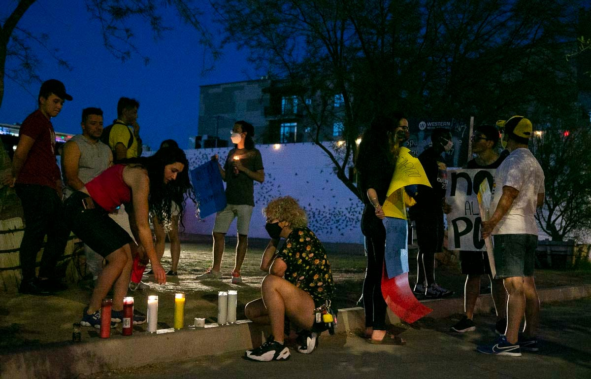 Community holds vigil in Phoenix to honor protesters killed in Colombia