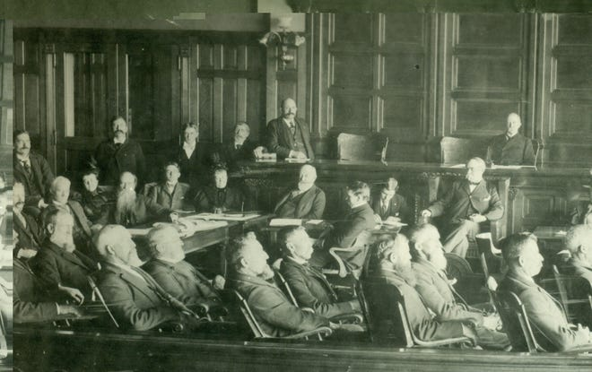 Ex-President Benjamin Harrison made national headlines in Richmond as a trial lawyer in the socially contentious 1895 'Morrisson Will Case.' This 13-week ordeal in the Wayne County courthouse was the longest jury trial of the 19th Century. Harrison pictured at center.