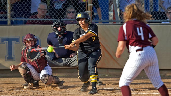 Desirae Saiz, center, takes a swing at the plate for Menard during a game against Eula on Friday, May 14, 2021.