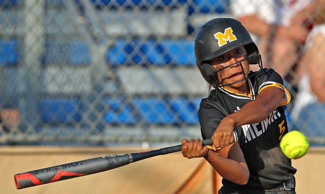 Jalyn Montes takes a swing at the plate for Menard during a game against Eula on Friday, May 14, 2021.