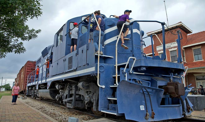Visitors to the Railway Museum of San Angelo explore a locomotive during the first Railway Days Festival on Saturday, May 15, 2021.