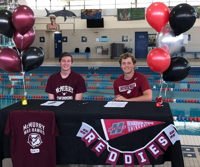 San Angelo Central High School swimmers Caleb Bush, left, and Ethan Welch will be competing at the next level. Bush will be swimming for McMurry University in Abilene, and Welch is heading to Henderson State in Arkadelphia, Arkansas.