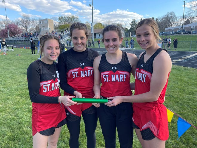 The St. Mary sprint medley team of (left-to-right) Madala Hanson, Maya Heinitz, Ella Heinitz and Courtney Brown set a new school record at the Dell Rapids Invitational on May 10.