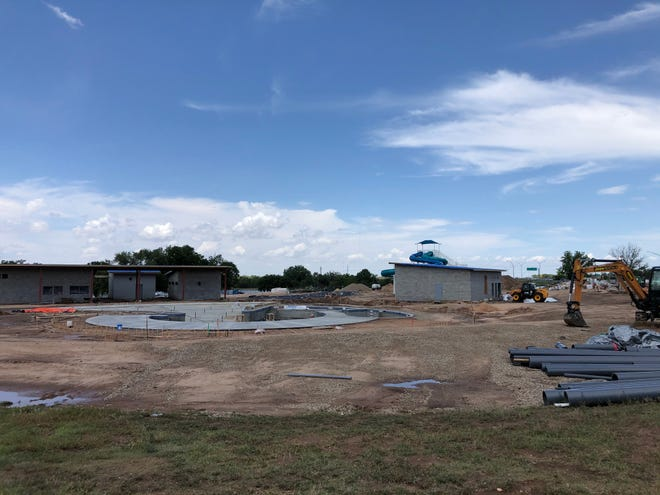 The current state of the construction on the Thompson Park Aquatic Facility, as of Sunday.