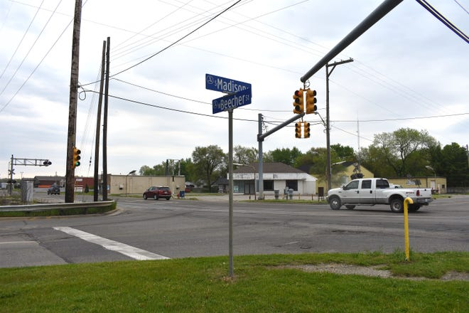 """The intersection of Beecher Street and South Madison Street in Adrian is pictured Sunday morning. State Rep. Bronna Kahle has reintroduced legislation to name the stretch of Beecher Street between Madison and Main streets the """"Patrolman Bobby Lynn Williams Memorial Highway."""""""