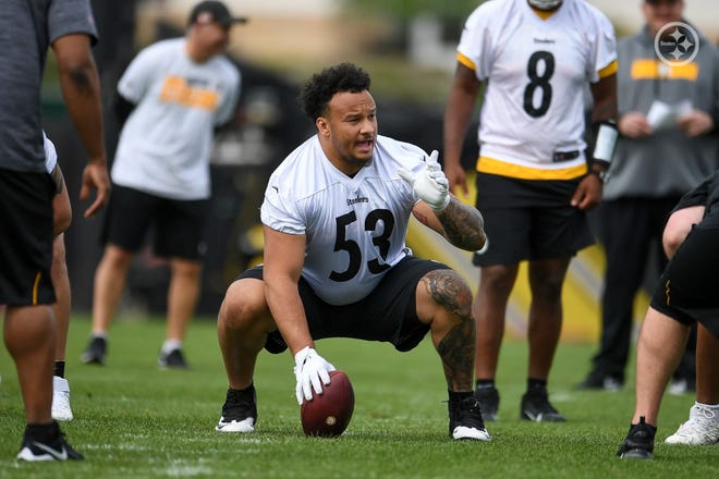 Peoria native Kendrick Green of Illinois competes in Pittsburgh Steelers rookie minicamp on Sunday, May 16, 2021, in Pittsburgh.