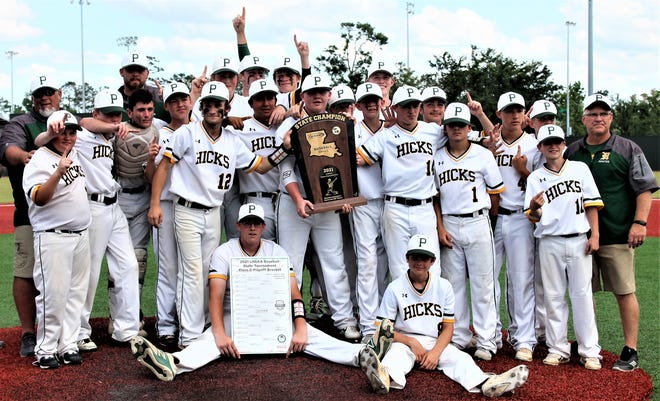 The Hicks Pirates won their 14th baseball state championship on Saturday by defeating the Hornbeck Hornets on Saturday in the Class C finals at McMurry Park in Sulphur, 4-0. The 14th title ranks second in state history, trailing only Jesuit High School in New Orleans.