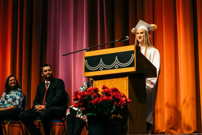 Phallen Clark, one of four Barnsdall High School valedictorians for 2021, addresses the school's commencement ceremony, held May 13 at the Bartlesville Community Center.
