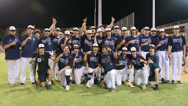 Dwyer's baseball team gathers for a group photo celebrating its 2-0 regional finals win over Doral Academy on Saturday night. The win clinched the program's second state appearance in school history.