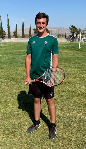 Singles consolation winner Jack Coppersmith poses for a photo after competing at the Mojave River League Finals Individuals Tournament.