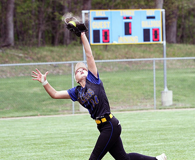 Centreville shortstop Kamryn Troyer makes a running catch for an out against Wayland on Saturday.
