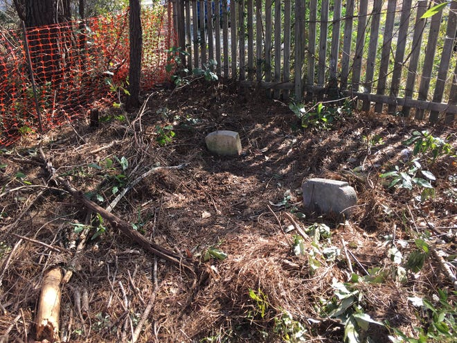Several tombstones near Edens Lane in Hampstead are being monitored after the area was disturbed by developers. [PHOTO COURTESY STEVE EDENS]