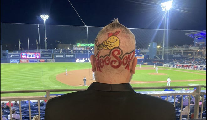James Ashley Lewis of Worcester sporting the WooSox emblem on the back of his head.