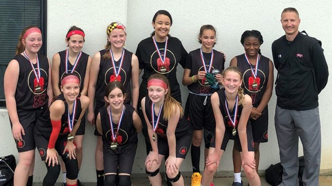The A&B Ballers Basketball Club won the gold medal at the Flames NTBA State Championship and National Qualifier at the Rockville Sportsplex, going 3-0 in sixth-grade girls pool play.