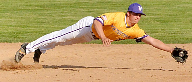 Watertown Post 17 second baseman Kale Stevenson makes a diving stop during Saturday's American Legion baseball doubleheader against Rapid City Post 22 at Watertown Stadium. Post 17 swept the twinbill.