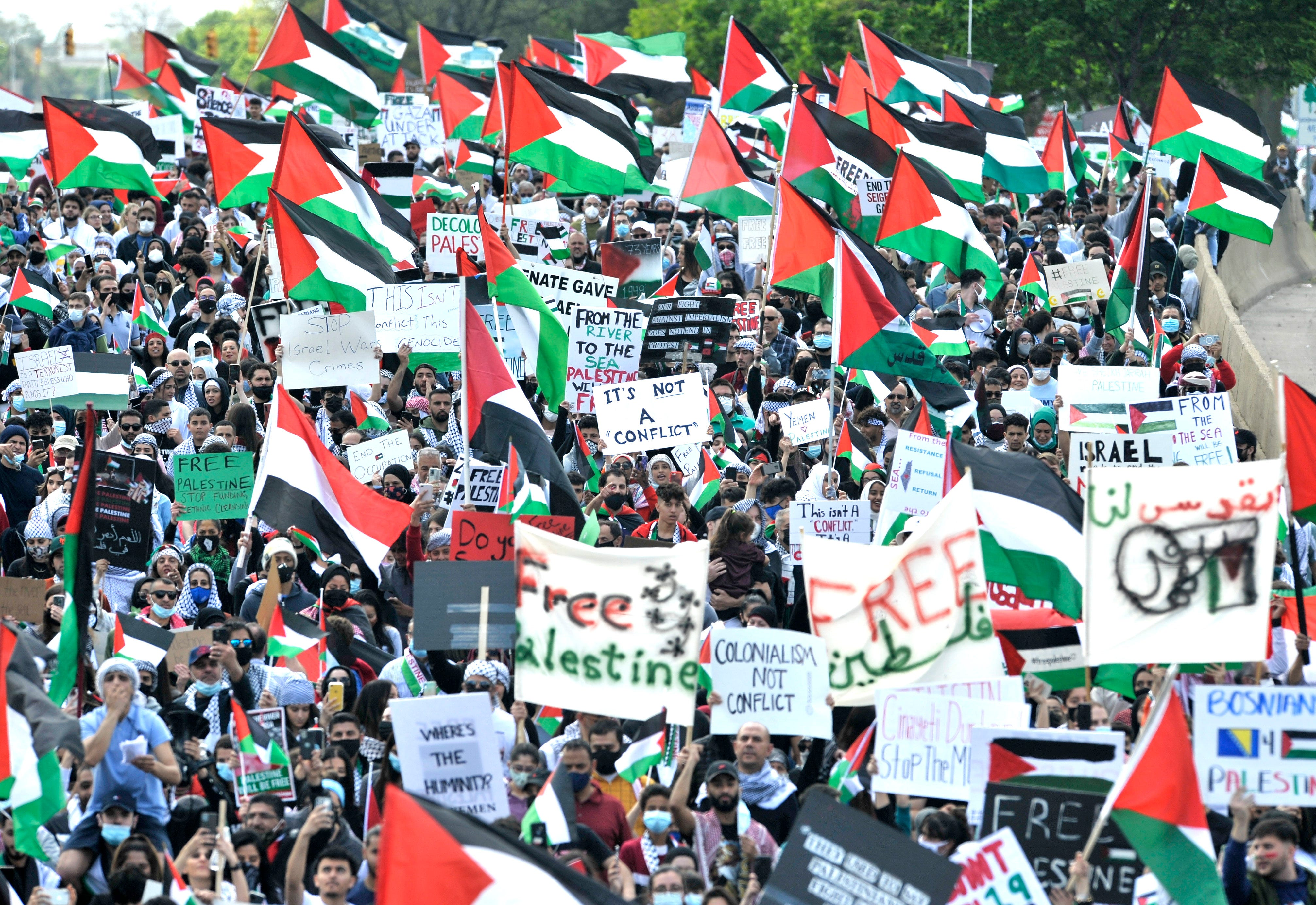 Arab Americans, supporters rally over Gaza fighting in Dearborn