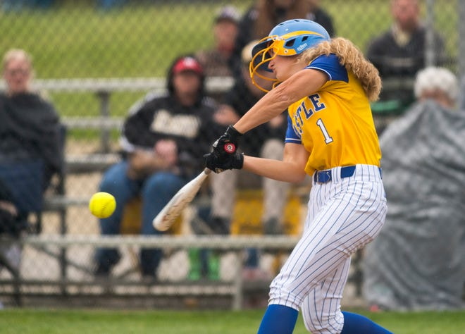 Castle's Jackie Lis (1) hits the ball as the Castle Knights  play the Boonville Pioneers during the 2021 Warrick County softball showcase in Newburgh, Ind., Saturday afternoon, May 15, 2021.