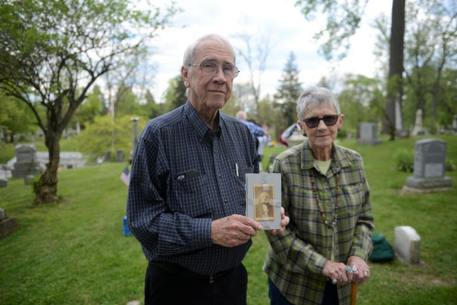 John Mann, of Perrysville, holds a picture of his great-great-great grandfather, William Mann, a grandson of Revolutionary War soldier John Mann.   Note: He is not the father of Ginger Perreault, but they are related to the same ancestor.