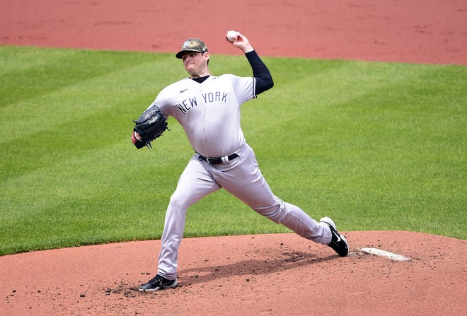 May 16, 2021; Baltimore, Maryland, USA; New York Yankees pitcher Jordan Montgomery (47) throws a pitch in the first inning against the Baltimore Orioles at Oriole Park at Camden Yards. Mandatory Credit: Evan Habeeb-USA TODAY Sports