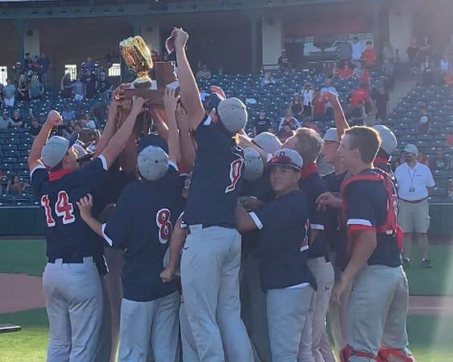 Benson's baseball team celebrates after winning the 2A Arizona high school baseball championship Saturday.