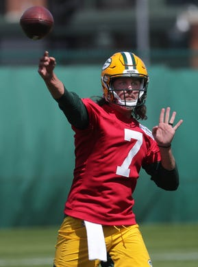 Quarterback Kurt Benkert (7) is shown during the first day of Green Bay Packers rookie minicamp on May 14.