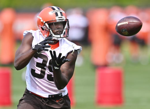 Cleveland Browns safety Richard LeCounte III catches a pass during rookie minicamp at the Cleveland Browns Training Facility on May 14.