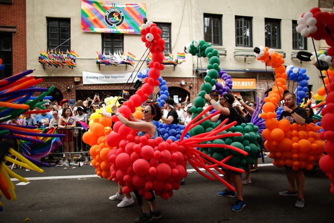 People participate in the NYC Pride March on June 30, 2019 in New York City.