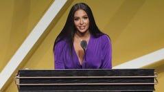 Vanessa Bryant speaks during Kobe Bryant's induction.