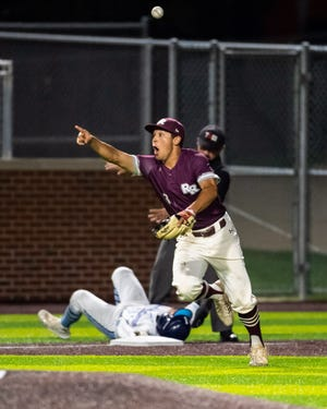 Round Rock's Jake Castillo celebrates after catcher Austin Munguia threw out the runner at third to end an inning against San Antonio Johnson Friday at North East Sports Park in San Antonio. Round Rock swept Johnson to advance to a Class 6A Region IV third-round meeting with Lake Travis.