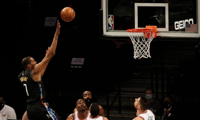 Brooklyn Nets forward Kevin Durant releases a shot against the Chicago Bulls in Saturday's game at Barclays Center. The Nets have assembled perhaps the NBA's most talented roster as the playoffs begin this week.