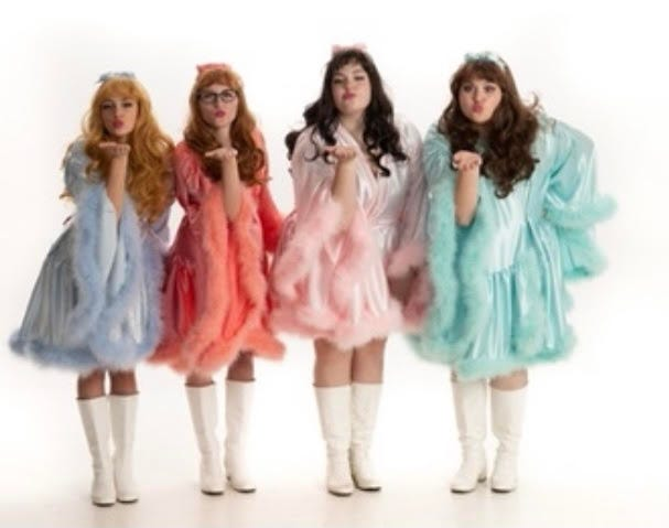 """Starring in West Branch High School's production of """"The Marvelous Wonderettes"""" are, from left, Alaya Kiser as Suzy; Gabby Harrison as Missy; Jillian Zamarelli as Cindy Lou; and Julia Zamarelli as Betty Jean."""