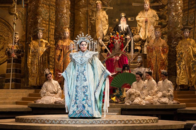 """Christine Goerke in the title role of Puccini's """"Turandot."""" Photo by Marty Sohl, courtesy of Metropolitan Opera."""