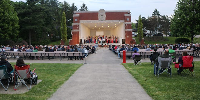 The Ashland High School choirs enjoy nice weather Saturday evening for their annual May Fiesta performance at the Guy C. Myers Memorial Band Shell. They also gave a performance Sunday evening at the Band Shell.