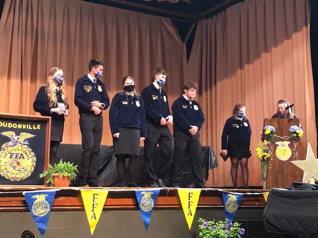 New chapter officers were introduced at the Loudonville FFA banquet.