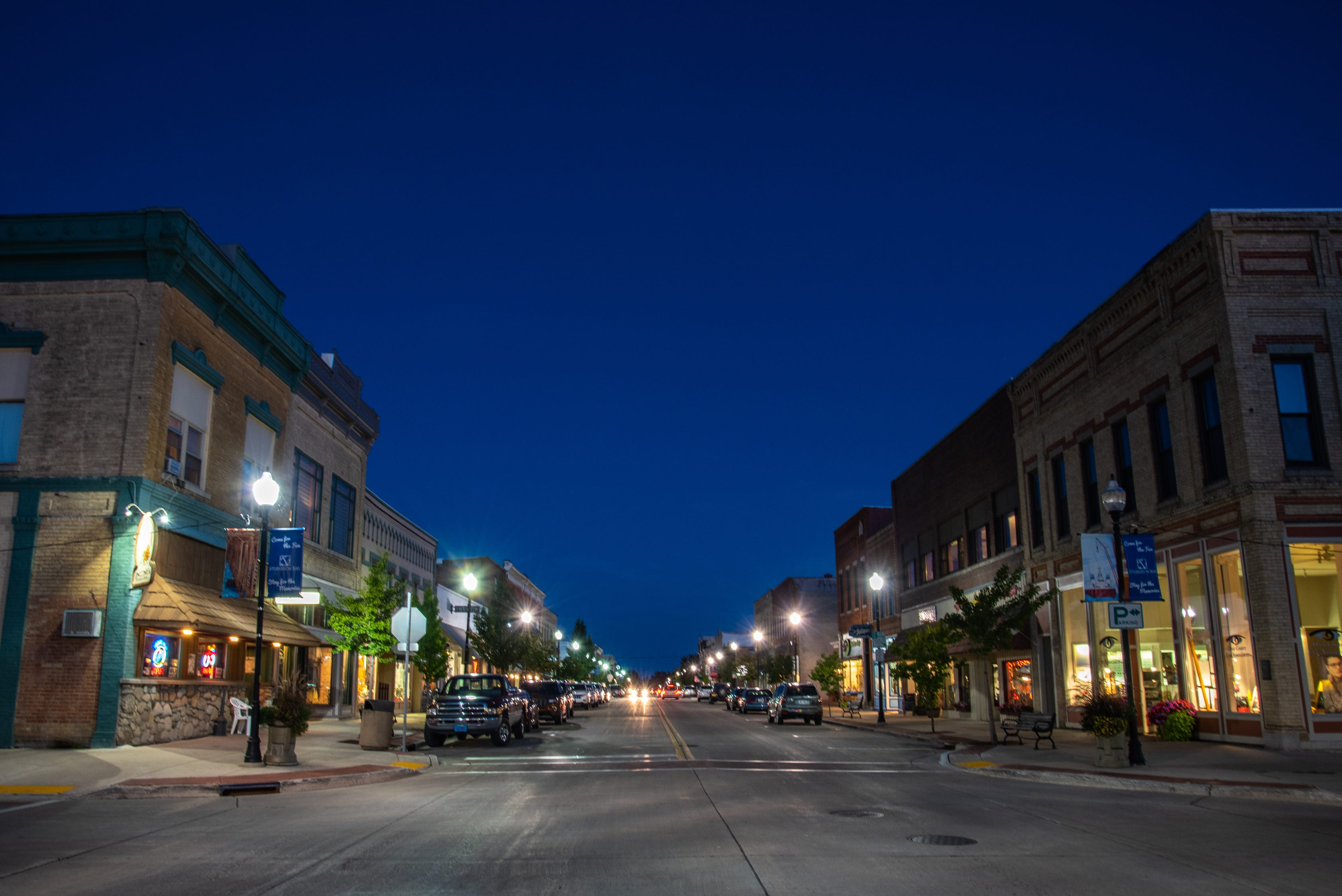 An evening view of historic Third Avenue in Sturgeon Bay, Wisconsin. Sturgeon Bay is the largest city in Door County with a population of about 9,000 people.