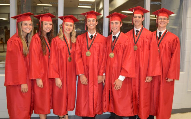 """Co-valedictorians of the Chillicothe High School class of 2021, which graduated Sunday evening, are, from left Ð Emma Leamer, Alexie """"Lexi"""" Walker, Emery Evans, Ethan Gabrielson, Carter Allen, Seth Hansen, and Samual Pauley."""